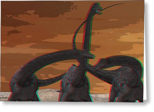 Anaglyph Diplodocus Greeting Card by Ramon Martinez