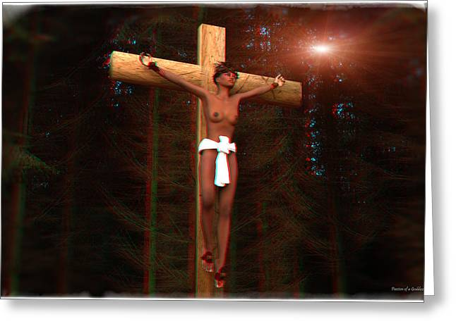 Anaglyph Martyr In The Forest Greeting Card by Ramon Martinez