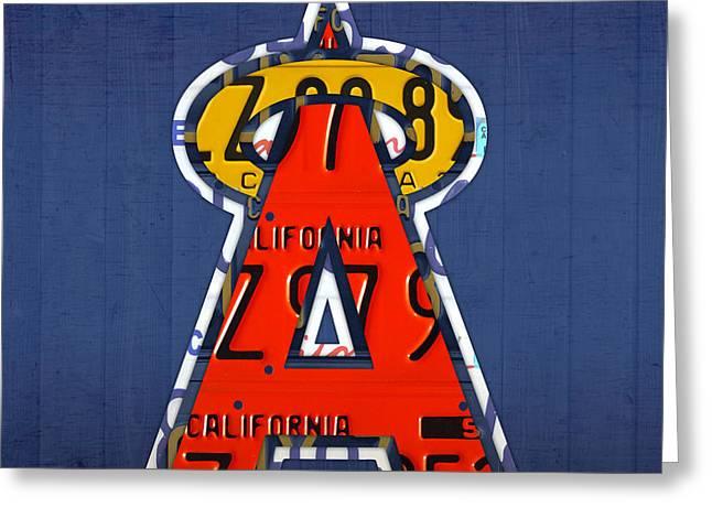 Anaheim California Angels Vintage Baseball Logo License Plate Art Greeting Card