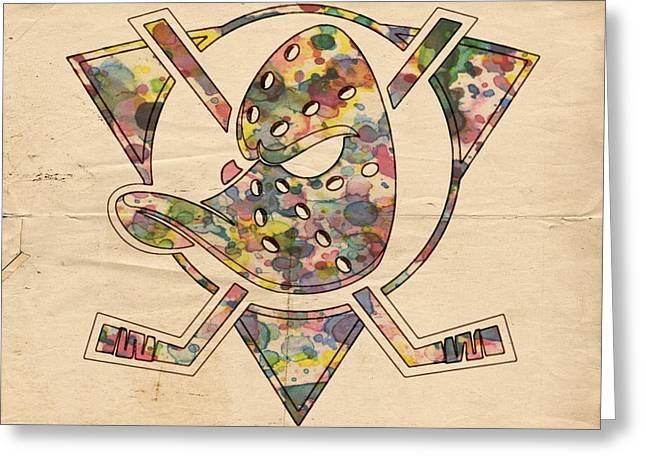 Anaheim Ducks Retro Poster Greeting Card
