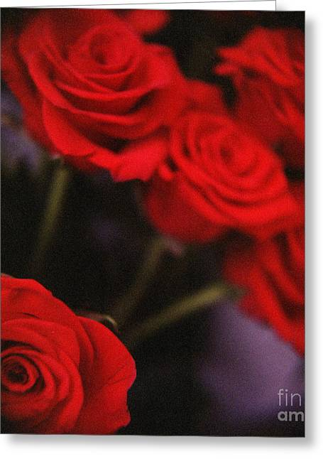 Analog Photo Of Bunch Bouquet Of Red Roses Greeting Card by Edward Olive