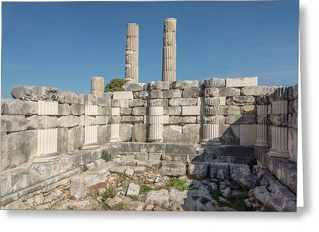 Anastylosis Of Temple Column At Letoon Greeting Card by David Parker