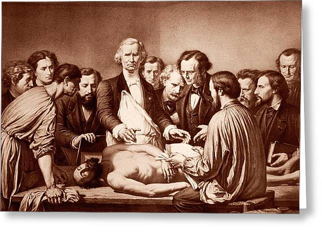 Anatomy Lesson By Velpeau Greeting Card by National Library Of Medicine