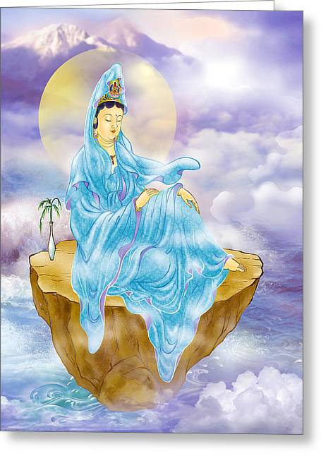 Greeting Card featuring the photograph Anavatapta Kuan Yin by Lanjee Chee