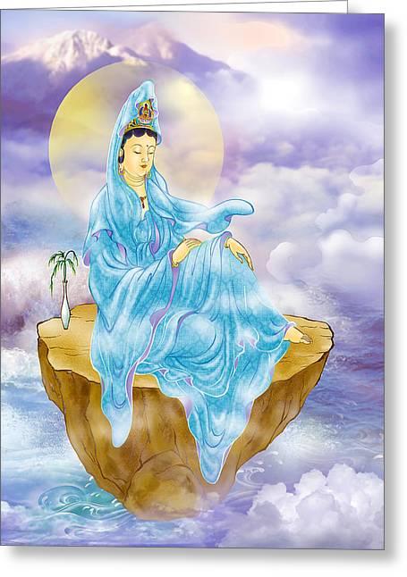 Anavatapta Kuan Yin Greeting Card by Lanjee Chee