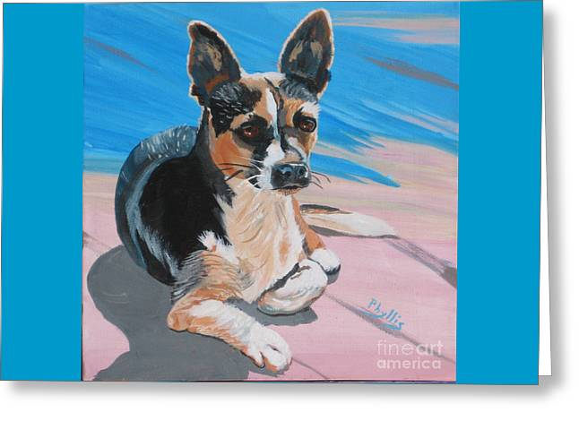 Ancho A Portrait Of A Cute Little Dog Greeting Card by Phyllis Kaltenbach