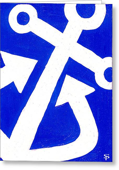 Anchor- Bright Blue Greeting Card by Catherine Peters