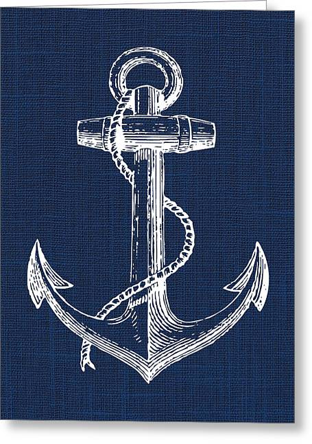 Greeting Card featuring the digital art Anchor Nautical Print by Jaime Friedman