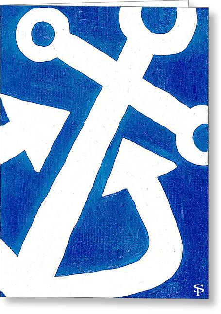 Anchor- Royal Blue Greeting Card by Catherine Peters