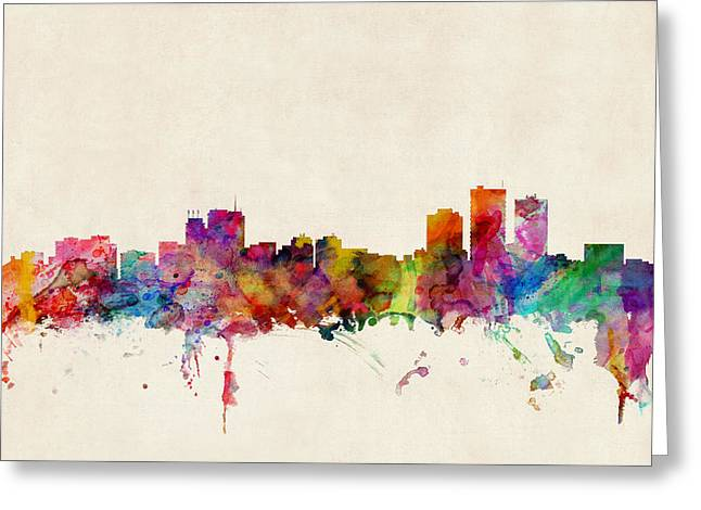 Anchorage Skyline Greeting Card by Michael Tompsett