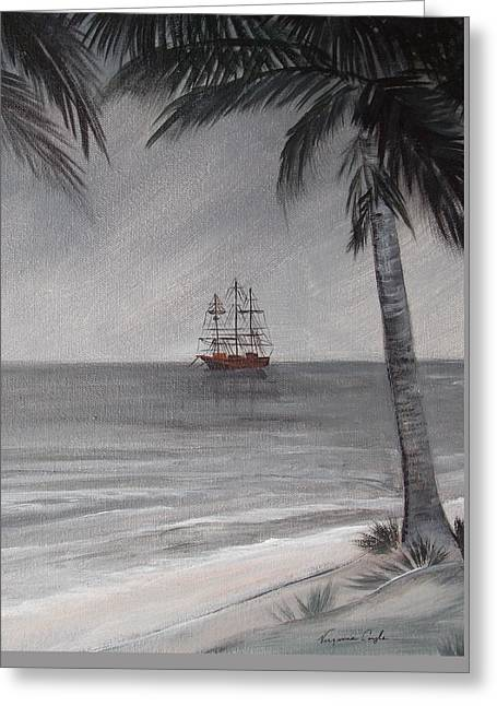Anchored For The Night Greeting Card by Virginia Coyle