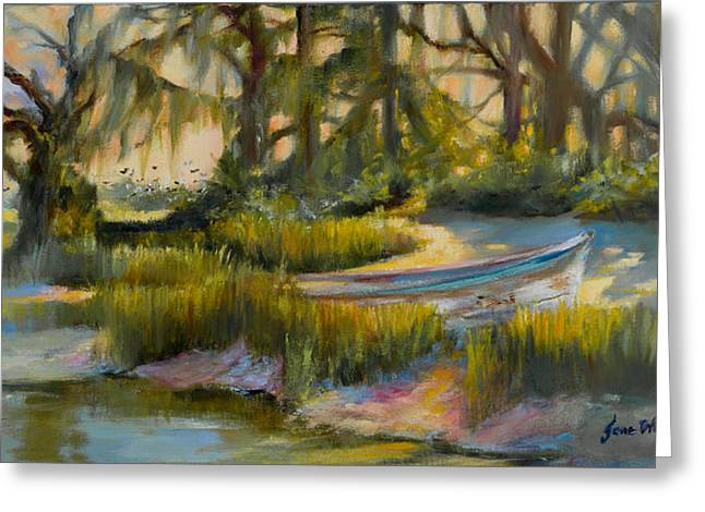 Anchored In The Marsh Greeting Card by Jane Woodward