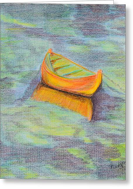 Anchored In The Shallows Greeting Card by Donna Blackhall