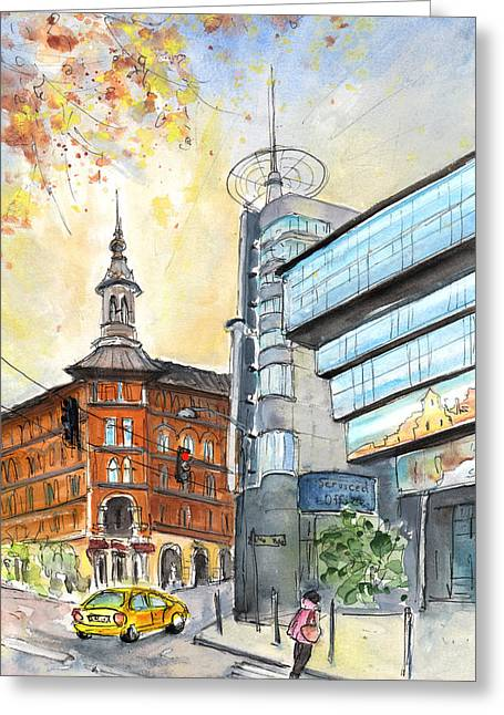 Ancient And Modern Budapest Greeting Card by Miki De Goodaboom