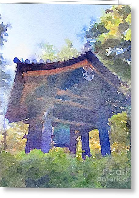Ancient Belfry Wooden Bell Tower In Nara Japan Greeting Card by Beverly Claire Kaiya