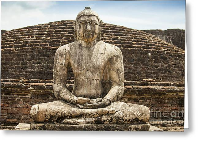 Ancient Buddha Statue At Polonnaruwa Greeting Card by Patricia Hofmeester