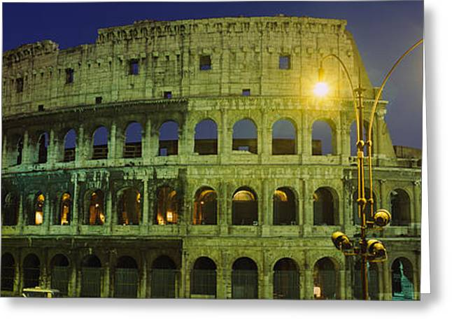 Ancient Building Lit Up At Night Greeting Card