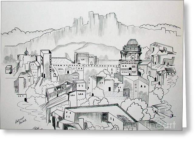 Greeting Card featuring the drawing Ancient City In Pen And Ink by Janice Rae Pariza