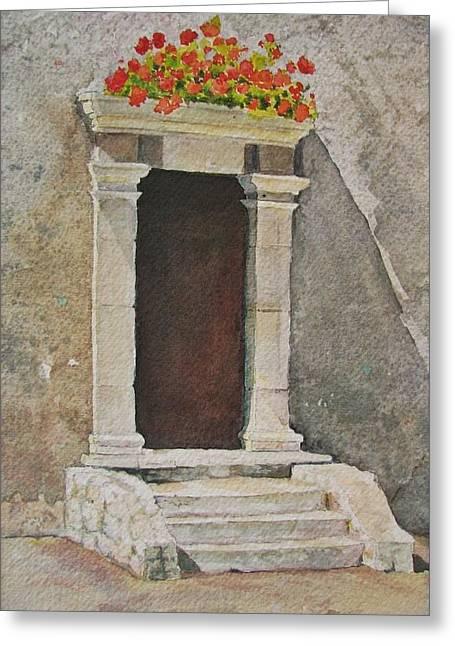 Ancient  Doorway  Greeting Card by Mary Ellen Mueller Legault
