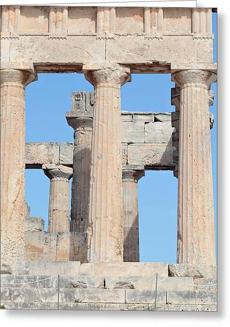Ancient Doric Columns Greeting Card by Paul Cowan