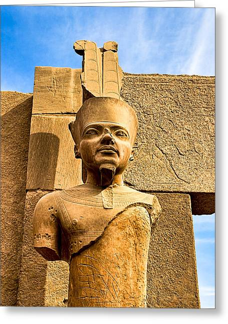 Ancient Face Of A Pharaoh At Karnak Greeting Card by Mark E Tisdale