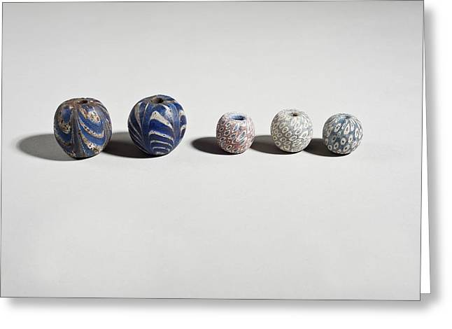Ancient Glass Beads Greeting Card by Science Photo Library