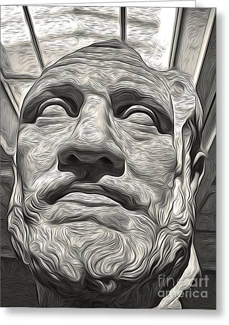 Ancient Greek Bust Greeting Card by Gregory Dyer