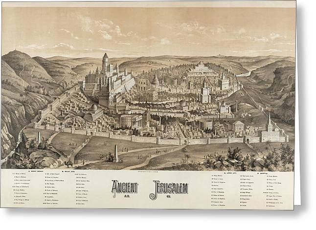Ancient Jerusalem Greeting Card by Library Of Congress/science Photo Library