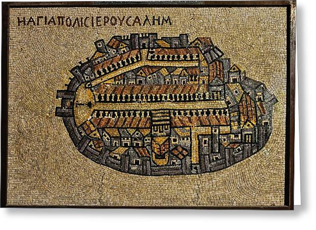 Ancient Jerusalem Mosaic Map Color Framed Greeting Card by Mark Fuller