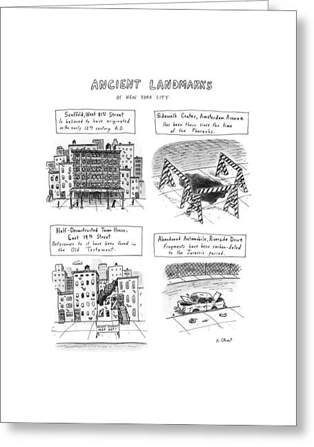 Ancient Landmarks Of New York City Greeting Card by Roz Chast