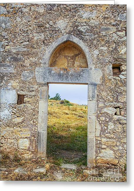 Ancient Monastary In Crete Greeting Card by Patricia Hofmeester