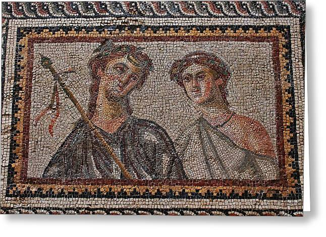 Ancient Mosaic Tiles Greeting Card by Michael Saunders