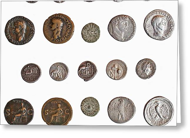 Ancient Roman Coins Greeting Card by Science Photo Library