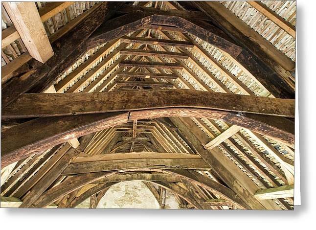Ancient Roof Timbers In Stokesay Castle Greeting Card by Ashley Cooper