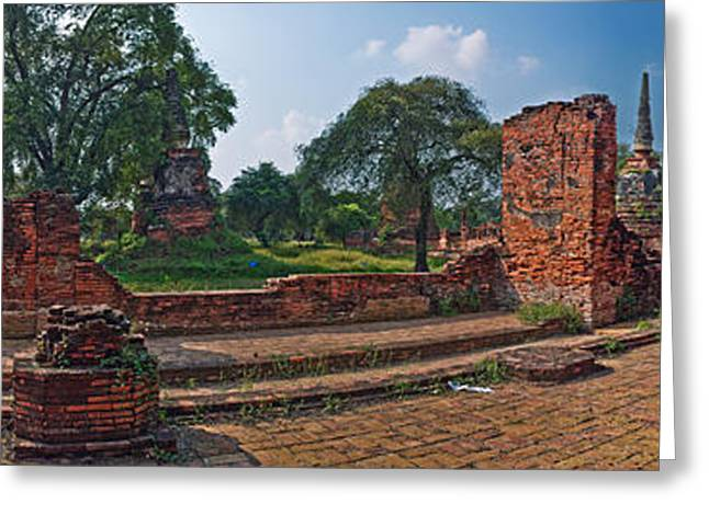 Ancient Ruins Of Ayutthaya Historical Greeting Card by Panoramic Images