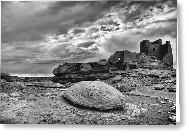 Ancient Arizona Ruins In Black And White  Greeting Card by Saija  Lehtonen