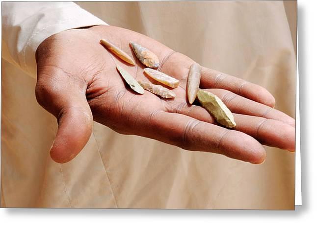 Ancient Saharan Arrowheads Greeting Card by Thierry Berrod, Mona Lisa Production
