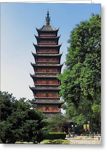Ancient Square Pagoda Greeting Card by Charline Xia