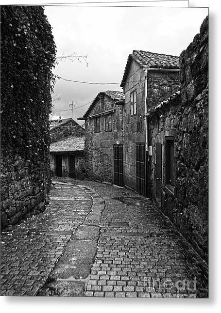 Ancient Street In Tui Bw Greeting Card