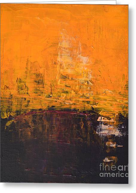 Ancient Wisdom Orange Brown Abstract By Chakramoon Greeting Card by Belinda Capol