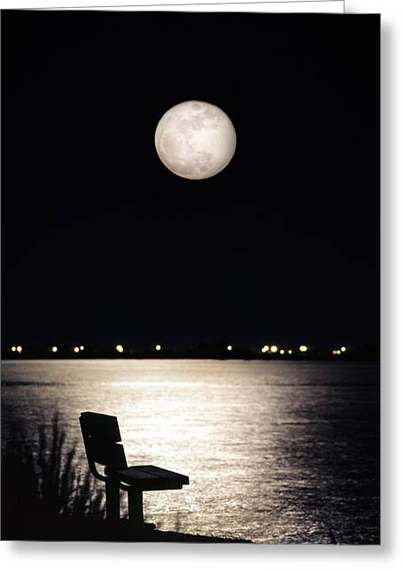 Greeting Card featuring the photograph And No One Was There - To See The Full Moon Over The Bay by Gary Heller