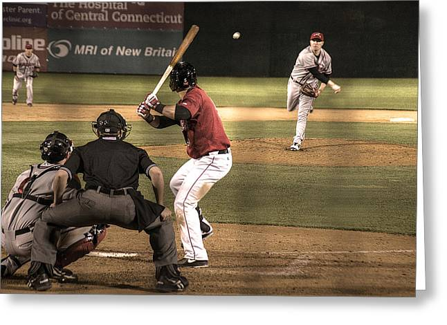 And Now The Pitch Greeting Card by William Fields