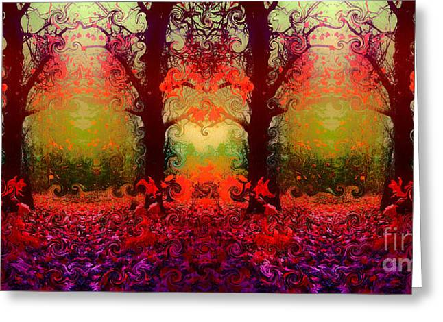 And The Autumn Forest Dances Greeting Card by Tara Turner