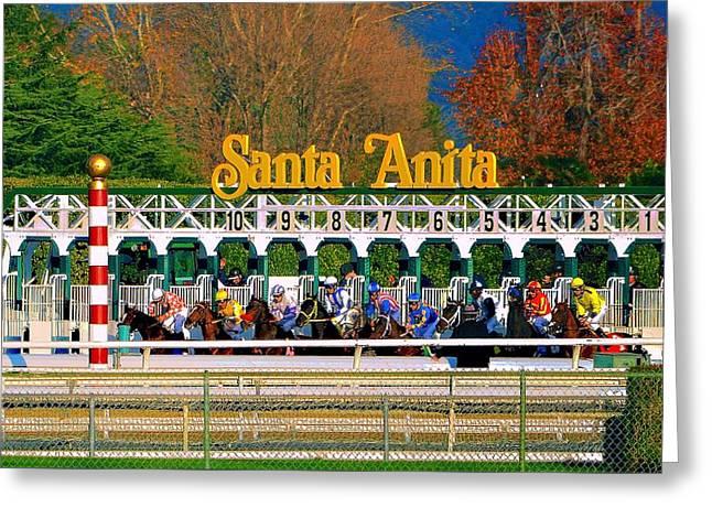 And They're Off At Santa Anita Greeting Card