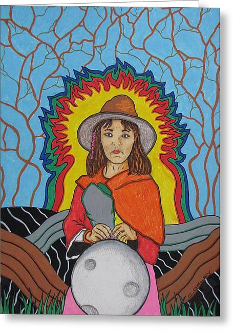 Andean Moonchild Greeting Card by Charles  Daley