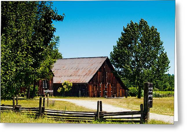 Anderson Valley Barn Greeting Card by Bill Gallagher