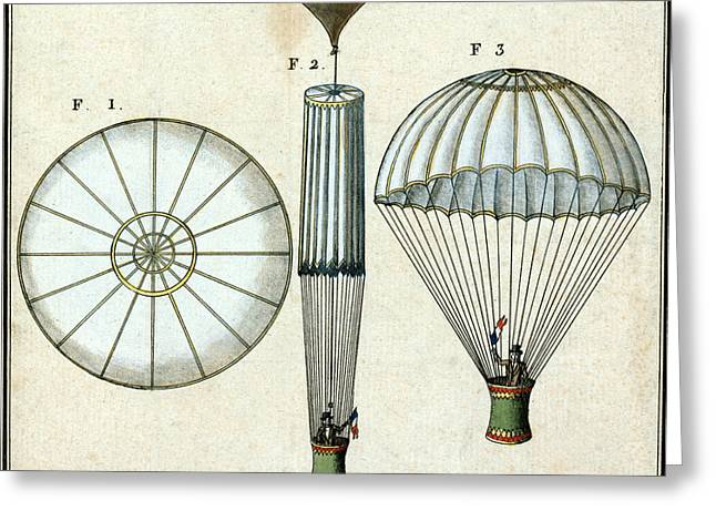 Andre Jacques Garnerins Parachute 1797 Greeting Card by Science Source