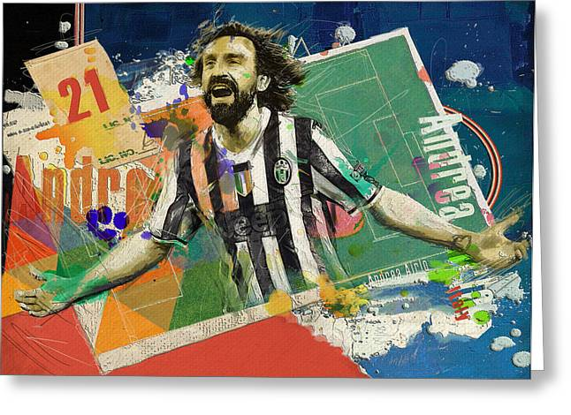 Andrea Pirlo Greeting Card by Corporate Art Task Force