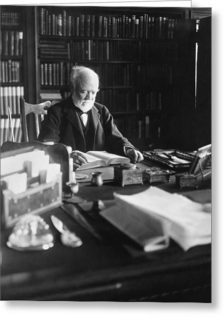 Andrew Carnegie Reading Greeting Card by Marceau