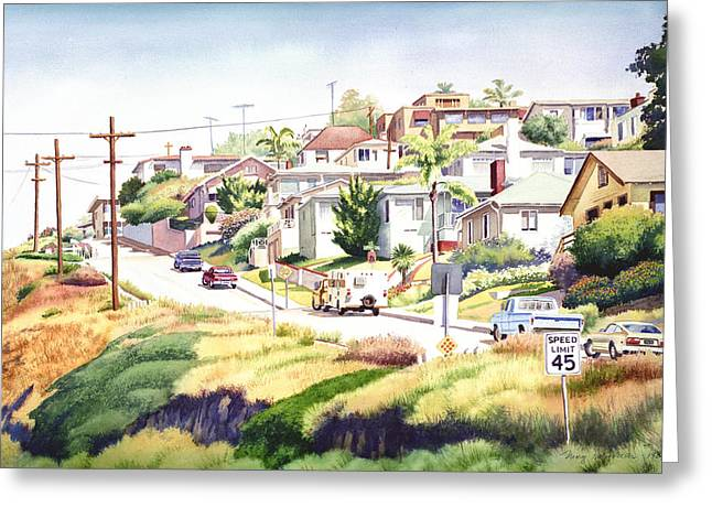 Andrews Street Mission Hills Greeting Card by Mary Helmreich